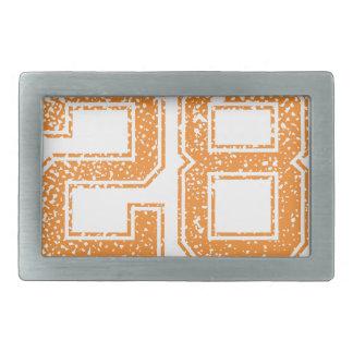 Orange Sports Jerzee Number 28.png Belt Buckle