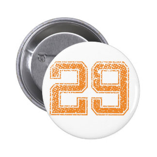 Orange Sports Jerzee Number 29.png Pinback Button