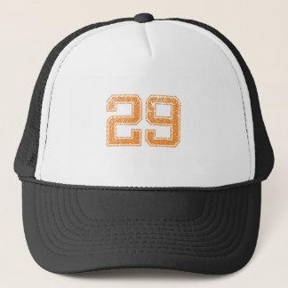Orange Sports Jerzee Number 29.png Trucker Hat