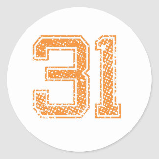 Orange Sports Jerzee Number 31.png Classic Round Sticker