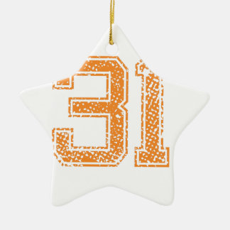 Orange Sports Jerzee Number 31.png Double-Sided Star Ceramic Christmas Ornament