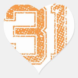 Orange Sports Jerzee Number 31.png Heart Sticker