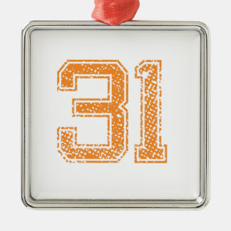 Orange Sports Jerzee Number 31.png Square Metal Christmas Ornament