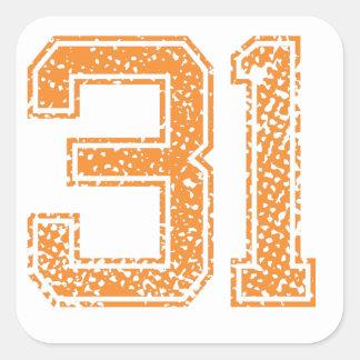 Orange Sports Jerzee Number 31.png Square Sticker