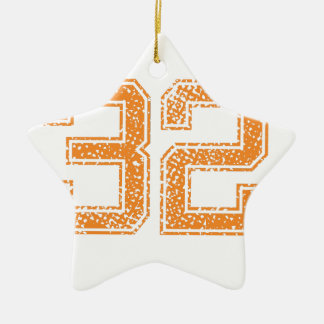 Orange Sports Jerzee Number 32.png Double-Sided Star Ceramic Christmas Ornament