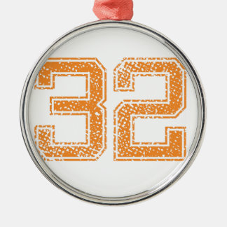 Orange Sports Jerzee Number 32.png Round Metal Christmas Ornament