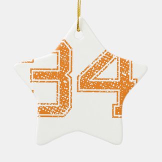 Orange Sports Jerzee Number 34.png Double-Sided Star Ceramic Christmas Ornament