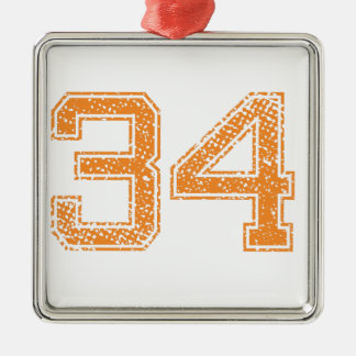 Orange Sports Jerzee Number 34.png Metal Ornament