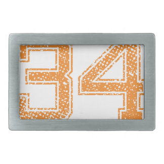 Orange Sports Jerzee Number 34.png Rectangular Belt Buckle