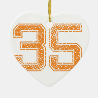 Orange Sports Jerzee Number 35.png Double-Sided Heart Ceramic Christmas Ornament