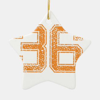 Orange Sports Jerzee Number 36.png Double-Sided Star Ceramic Christmas Ornament