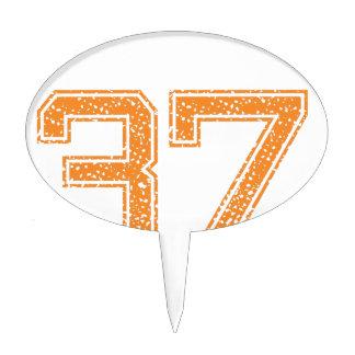 Orange Sports Jerzee Number 37.png Cake Topper