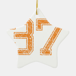 Orange Sports Jerzee Number 37.png Double-Sided Star Ceramic Christmas Ornament