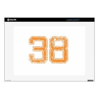 "Orange Sports Jerzee Number 38.png Decals For 15"" Laptops"