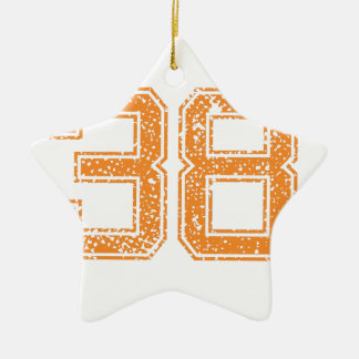 Orange Sports Jerzee Number 38.png Double-Sided Star Ceramic Christmas Ornament