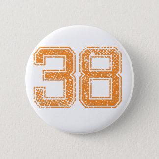 Orange Sports Jerzee Number 38.png Pinback Button