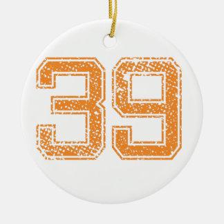Orange Sports Jerzee Number 39.png Ceramic Ornament