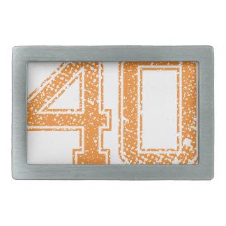 Orange Sports Jerzee Number 40.png Rectangular Belt Buckle