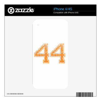 Orange Sports Jerzee Number 44.png Decal For The iPhone 4
