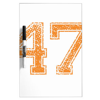 Orange Sports Jerzee Number 47.png Dry Erase Board