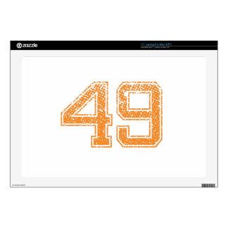 Orange Sports Jerzee Number 49.png Laptop Skins