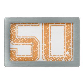 Orange Sports Jerzee Number 50.png Belt Buckle