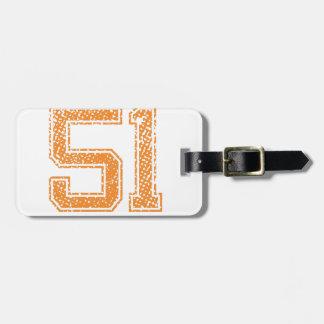 Orange Sports Jerzee Number 51.png Bag Tag