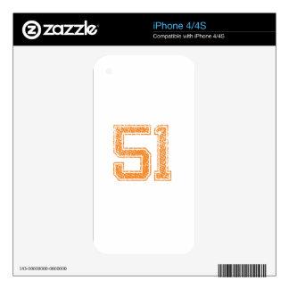 Orange Sports Jerzee Number 51.png iPhone 4S Skin