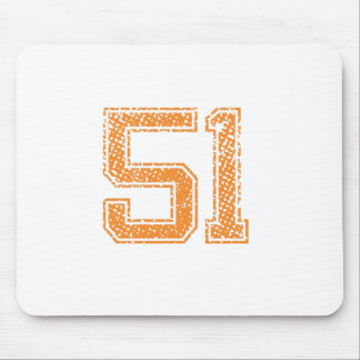 Orange Sports Jerzee Number 51.png Mouse Pad