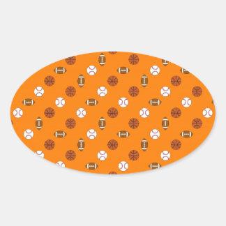 Orange Sports Oval Sticker