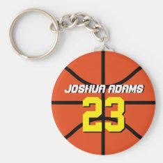 Orange Sports Team Athletes Basketball Keychain at Zazzle