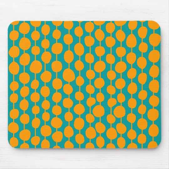 Orange Spots and Lines Mouse Pad