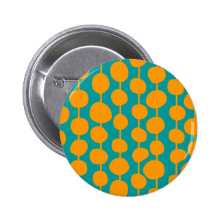 Orange Spots and Lines Pinback Button