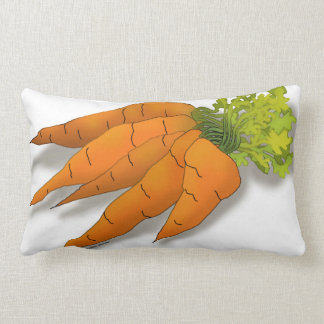 Orange Spring Carrots Drawing Lumbar Pillow