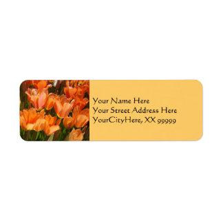 Orange Spring Return Address Labels Tulips
