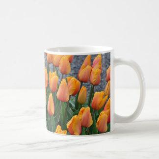 Orange spring tulips coffee mug