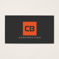 Orange Square Monogram Construction, Electrical Business Card at Zazzle