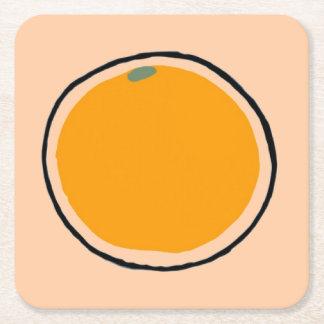 Orange Square Paper Coaster