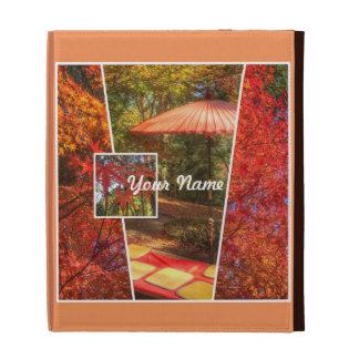 Orange Square Photo Fall Template Autumn Leaves iPad Folio Cover