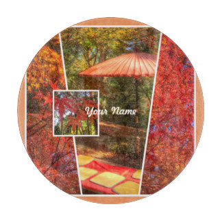 Orange Square Photo Fall Template Autumn Leaves Cutting Boards