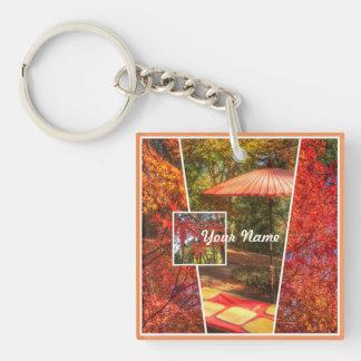 Orange Square Photo Fall Template Autumn Leaves Keychain