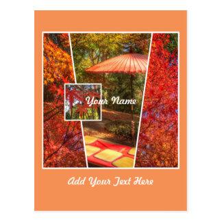 Orange Square Photo Fall Template Autumn Leaves Postcard