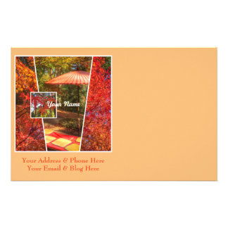 Orange Square Photo Fall Template Autumn Leaves Stationery Paper