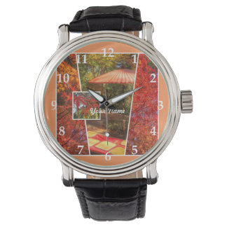 Orange Square Photo Fall Template Autumn Leaves Wristwatch