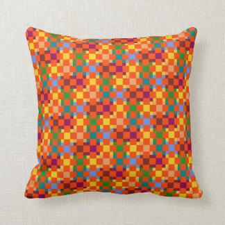 Orange Squares Modern Geometric Pattern Pillow