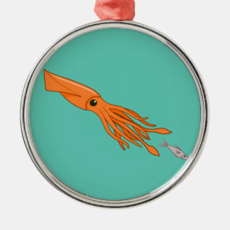 Orange Squid Chase Metal Ornament