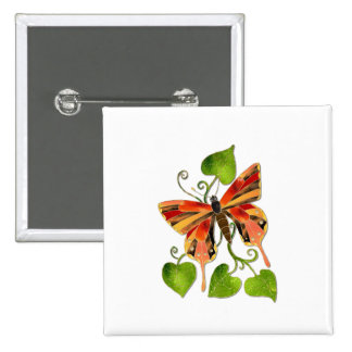 Orange Stained Glass Butterfly Button