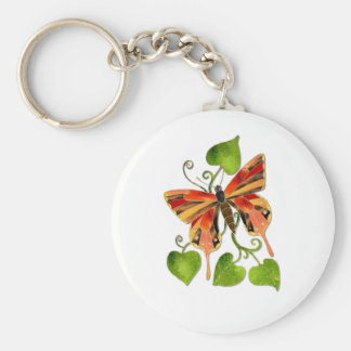 Orange Stained Glass Butterfly Keychain