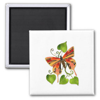 Orange Stained Glass Butterfly Magnet