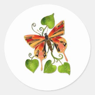 Orange Stained Glass Butterfly Sticker